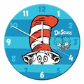 "Dr. Seuss Cat in the Hat 13.5"" Cordless Wood Wall Clock"