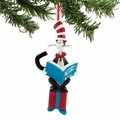 Dr. Seuss Cat in the Hat Reading On Present Ornament