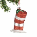 Dr. Seuss Cat's Hat Glittered Glass Ornament