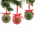 Dr. Seuss Grinch Pattern Decoupage Ornament Set of 3