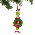 Dr. Seuss Grinch with Wreath Glittered Ornament