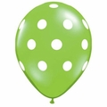 Lime Green Polka Dot Latex Balloons 6 Pack