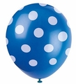 Royal Blue Polka Dot Latex Balloons 6 Pack