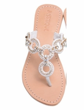 6127 White Crystal Sandal by Mystique