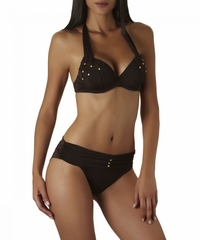 Aubade Swimwear Gold Lover Moulded Plunge Bikini Top & Bruef Bottom in Moka Color