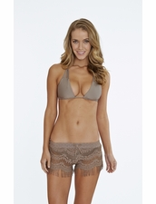 Bettinis Hippie Lace Shorts with Fringe in Putty