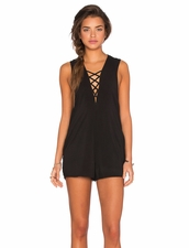 Blue Life Indie Romper in Soft in Black Color