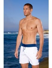 Sauvage  Men'sClassic Banded Pocket Board Shorts White/Navy