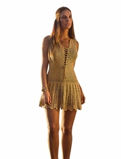 Coketta Beachwear Blanca Lace-Up Decollette Crochet Dress in Gold
