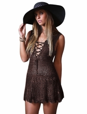Coketta Beachwear Blanca Lace -Up Decollette Crochet Dress in Brown