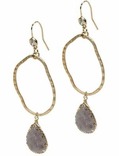 Hammered Oval Natural Stone Earring by Funky Junque at Pesca Trend