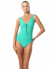 Karla Colletto Basic Lace- Up V-Neck One Piece Swimsuit