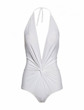 Karla Colletto Basic Plunge Halter One Piece Swimsuit in White