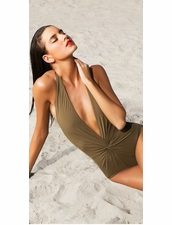 Karla Colletto Basic Plunge One Piece  Swimsuit in Army Color