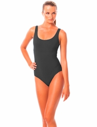 Karla Colletto Basic Tank  Round Neck One Piece in Charcoal
