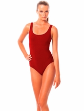Karla Colletto  Basic Round Neck One Piece in cherry