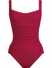 Karla Colletto Basic Square Neck One Piece Swimsuit in Garnet