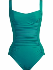 Karla Colletto Basic Square Neck One Piece Swimsuit in Teal
