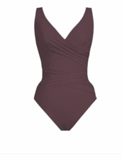 Karla Colletto Basic Surplice Neck One Piece Swimsuit in Wine