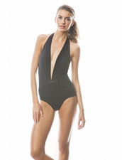 Karla Colletto Belted Buckle Low Back Plunge One Piece in Black