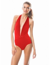 Karla Colletto Belted Buckle Low Back Plunge One Piece in Red