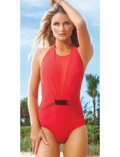 Karla Colletto Chunky Chain Round Neck Swimsuit