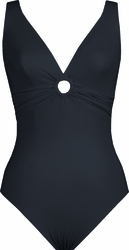 Karla Colletto Ring V-Neck Silent  underwire One Piece in Charcoal