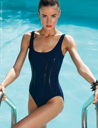 Karla Colletto Patent Round Neck One Piece Swimsuit in Navy  Color