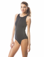 Karla Colletto  Perforated High Neck Zip Front One Piece