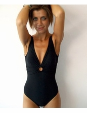 Karla Colletto Ring One- Piece Swimsuit in Brown