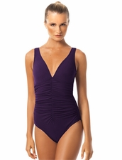Karla Colletto Smart Suit One Piece in Wine Color