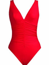 Karla Colletto Smart Suit V-Neck Silent Underwire Tank in Red