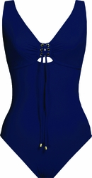 Karla Colletto Swimwear Basic Lace- Up One-Piece V-Neck in Navy  ** 2015 Collection **
