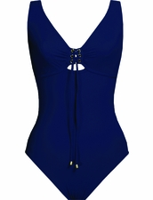 Karla Colletto Swimwear Basic Lace- Up One-Piece V-Neck in Navy