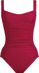 Karla Colletto Swimwear Basic Square Neck One Piece Swimsuit in Garnet   ** 2015 Collection **