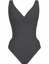 Karla Colletto Basic Surplice Neck One Piece Swimsuit in Charcoal