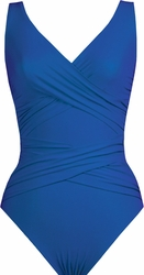 Karla Colletto Swimwear Basic Surplice Neck One Piece Swimsuit in Cobalt  ** 2015 Collection **