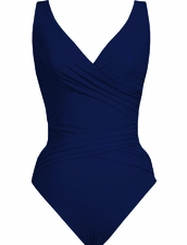 Karla Colletto Basic Surplice Neck One Piece Swimsuit in Navy