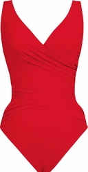 Karla Colletto Swimwear Basic Surplice Neck One Piece Swimsuit in Red
