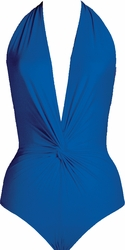 Karla Colletto Swimwear Low-V- Deep Plunge With Ties One Piece in Cobalt  ** 2015 Collection **