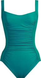 Karla Colletto Swimwear Basic Square Neck One Piece Swimsuit in Teal  ** 2015 Collection **