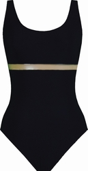 Karla Colletto Transparent Round Neck One Piece Swimsuit in Black
