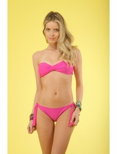 Kiminis Solid Pink Twisted Bandeau Top Bikini & Tie-Side Bottom