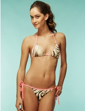 Kimins Neon Pink Zebra Tri Top and Stringy Bottom Bikini