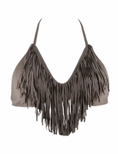 L* Space Audrey Fringe Halter Top in Taupe