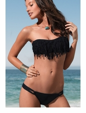 L*Space Dolly Knotted Bandeau Top and Taboo Bottom in Black