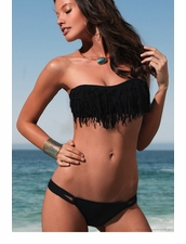 L*Space Dolly Knotted Bandeau Top in Black