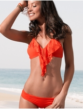 L*Space Swimwear Aliza Halter Bikini Top in Paprika