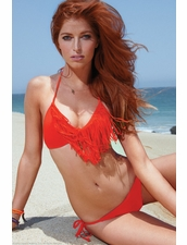 L*Space Swimwear Audrey Fringe & Tie Side Bikini in Paprika