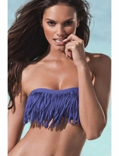 L *Space Dolly Fringe Bandeau Top Bikini in Iris Blue